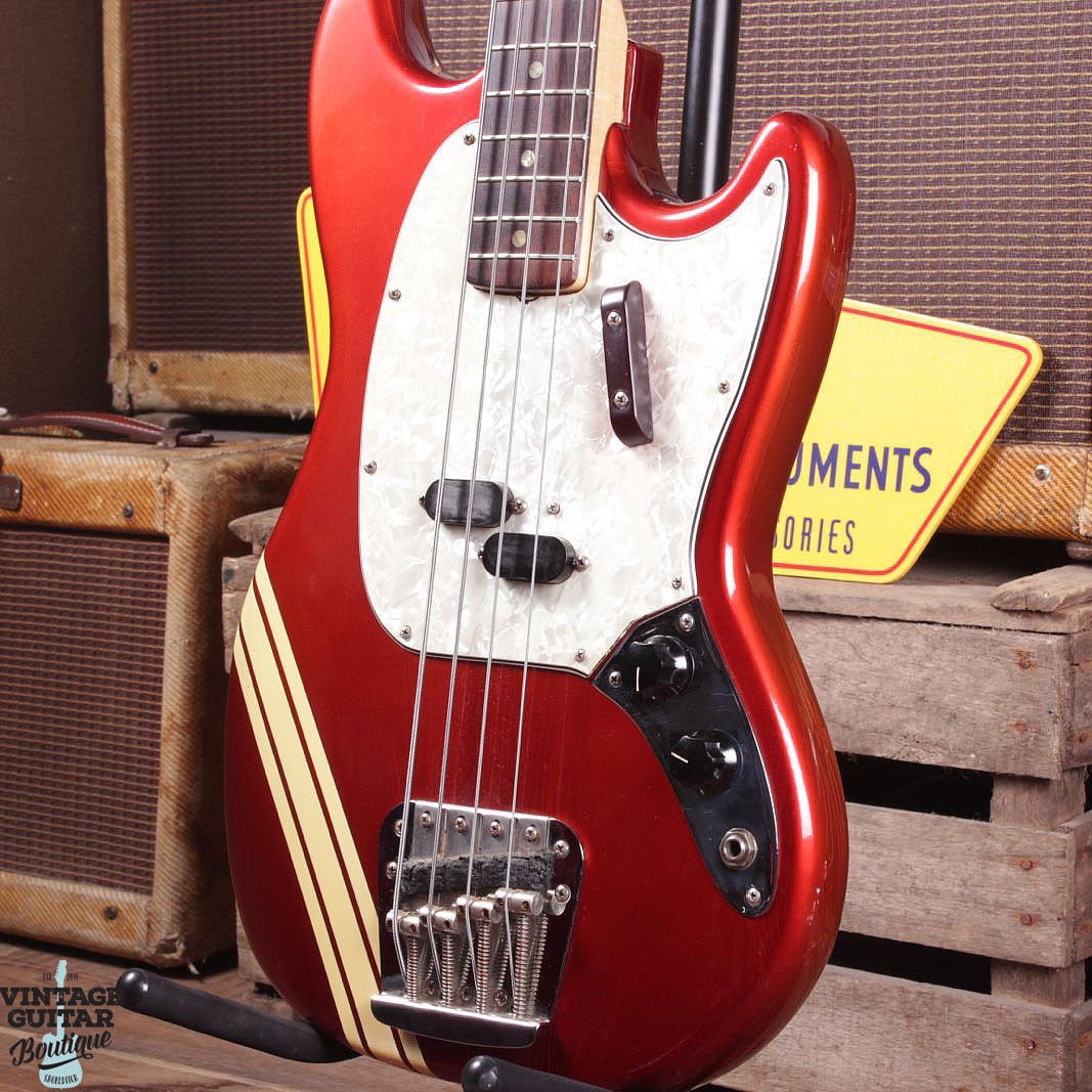 1973 Fender Mustang Bass - Comp Stripe - Candy Apple Red - Vintage Guitar Boutique - 2