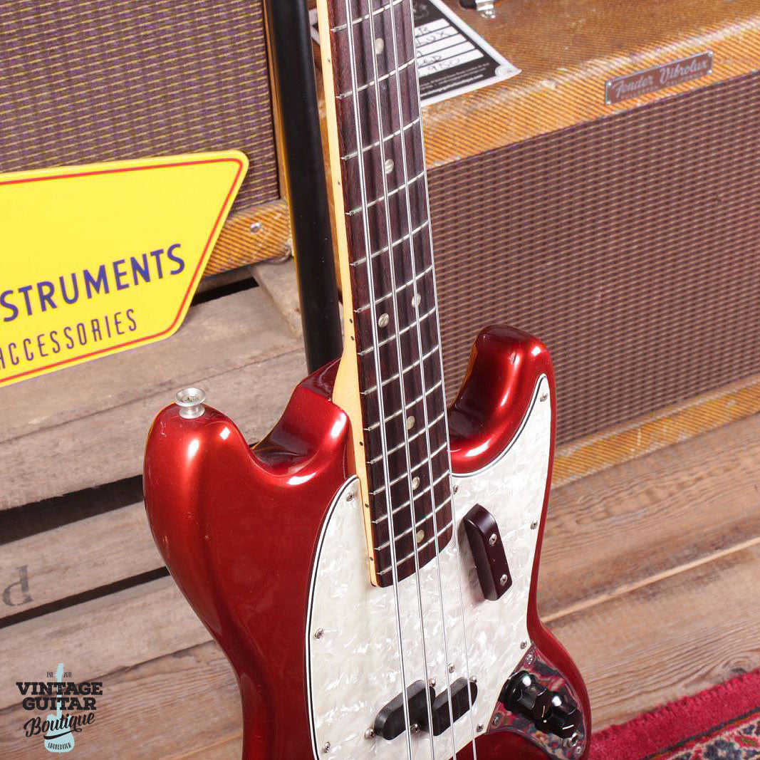 1973 Fender Mustang Bass - Comp Stripe - Candy Apple Red - Vintage Guitar Boutique - 5