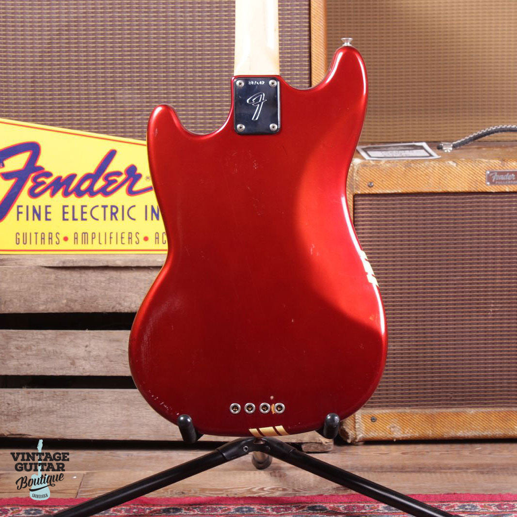 1973 Fender Mustang Bass - Comp Stripe - Candy Apple Red - Vintage Guitar Boutique - 7