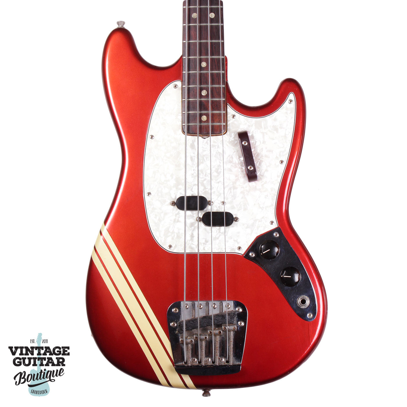 1973 Fender Mustang Bass - Comp Stripe - Candy Apple Red - Vintage Guitar Boutique - 1