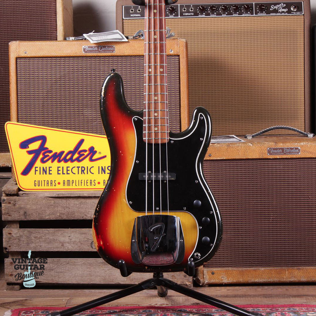 1976 Fender Precision - Jazz Conversion - Sunburst - Vintage Guitar Boutique - 3