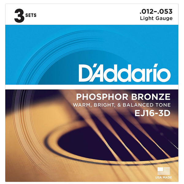 D'Addario - EJ16-3D Phosphor Bronze Light 12-53 - 3 Pack