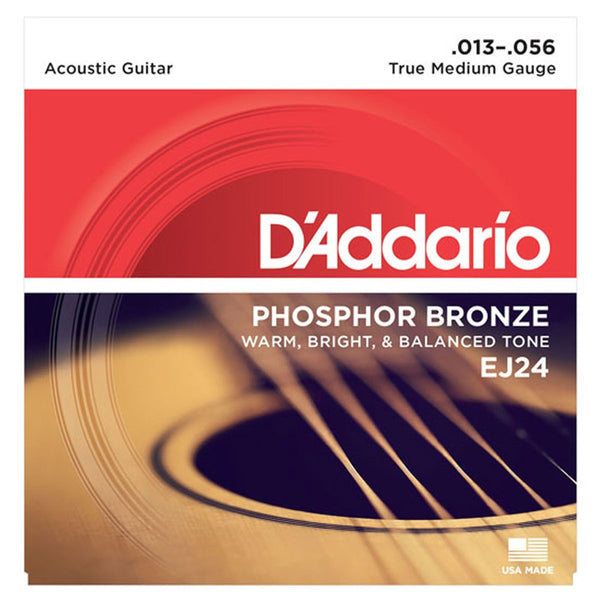 D'Addario - EJ24 Phosphor Bronze True Medium 13-56 | Lucky Fret Music Co.