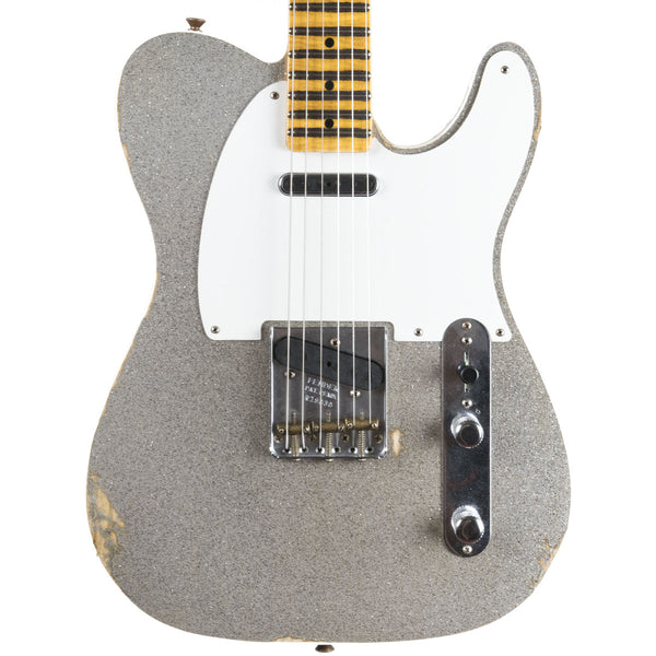 "Fender Custom Shop 2018 Ltd Relic Double Esquire ""Special"" Aged Black With Silver Sparkle Top 