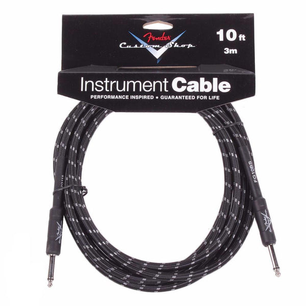 Fender 10ft Custom Shop Cable - Black Tweed - Straight - Vintage Guitar Boutique