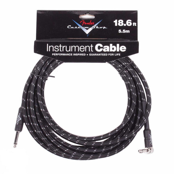 Fender 18.6ft Custom Shop Cable - Black Tweed - Angled - Vintage Guitar Boutique