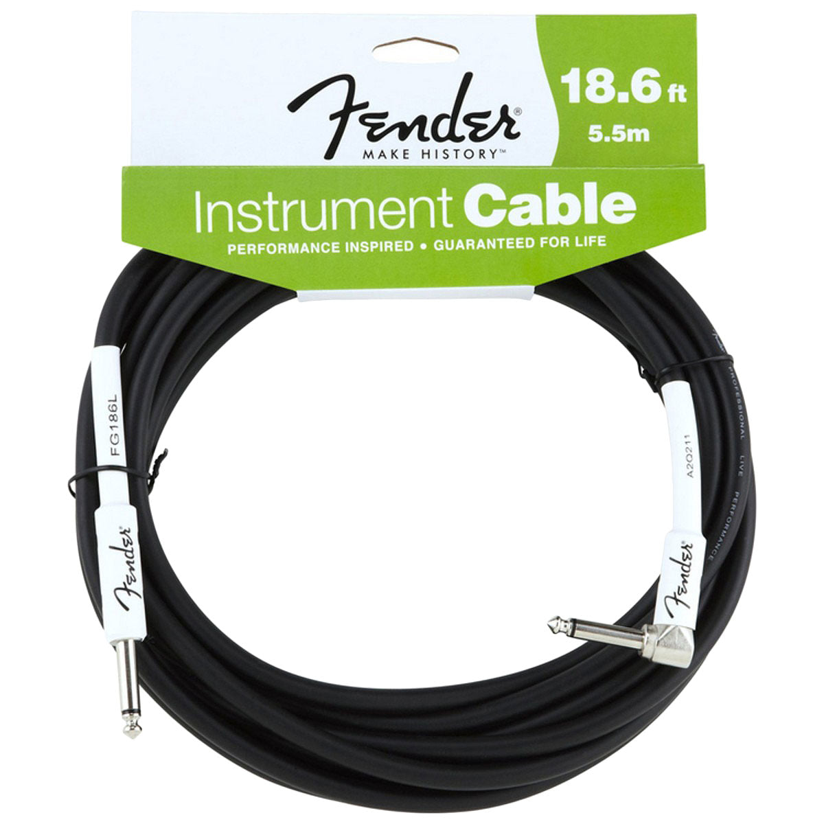 Fender 18.6ft Instrument Cable - Black - Angled | Lucky Fret Music Co.