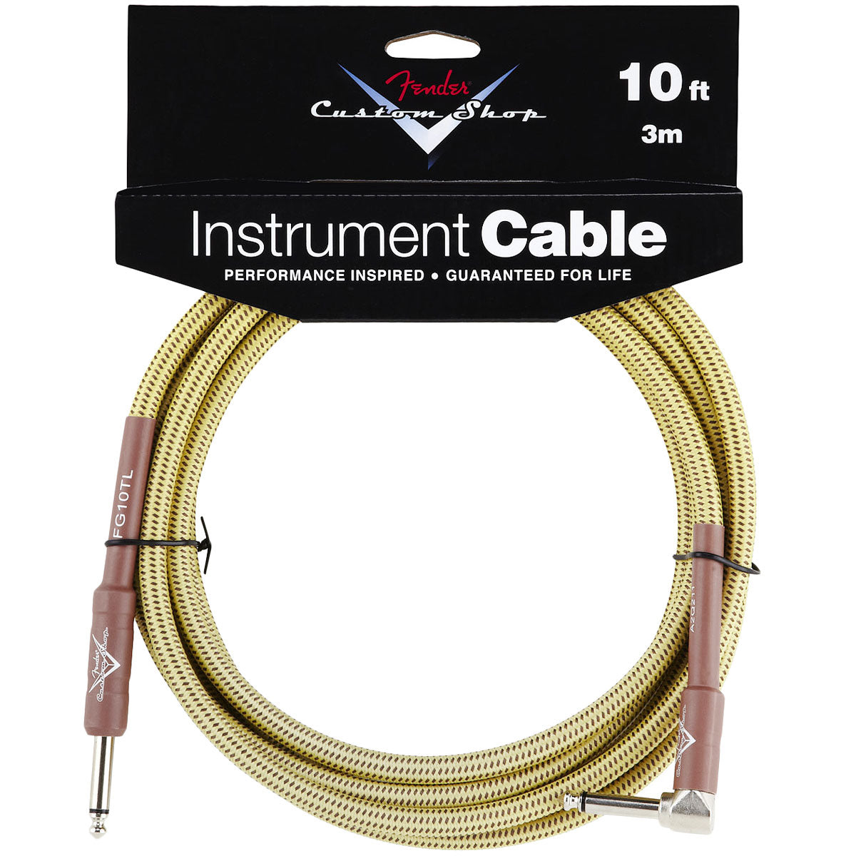 Fender 10ft Custom Shop Cable - Tweed - Angled | Lucky Fret Music Co.