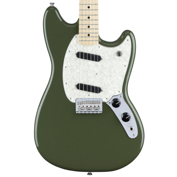 Fender Mustang - Maple - Olive | Lucky Fret Music Co.