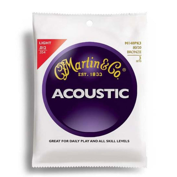 Martin M140PK3 Bronze Light Acoustic Strings - 12-54 - Triple Pack | Lucky Fret Music Co.