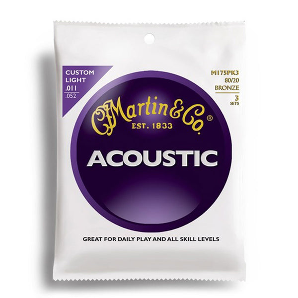 Martin M175PK3 Bronze Custom Light Acoustic Strings - 11-52 - Triple Pack | Lucky Fret Music Co.