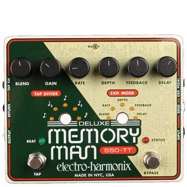 Electro Harmonix - Deluxe Memory Man 550-TT - Tap Tempo 550Ms Analog Delay (PSU Included) | Lucky Fret Music Co.