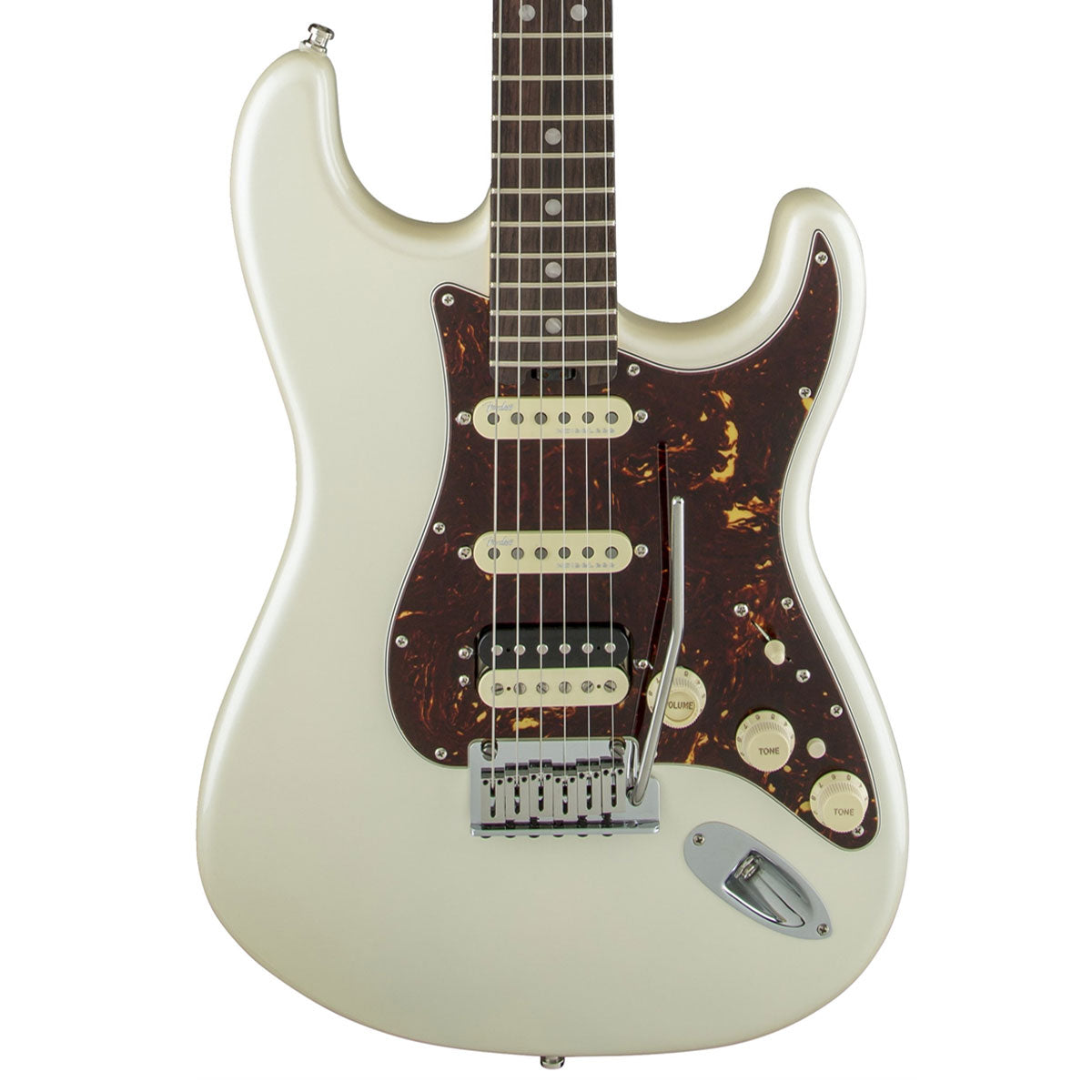 Fender American Elite Stratocaster HSS Shawbucker, Rosewood, Olympic Pearl - SALE PRICE | Lucky Fret Music Co.