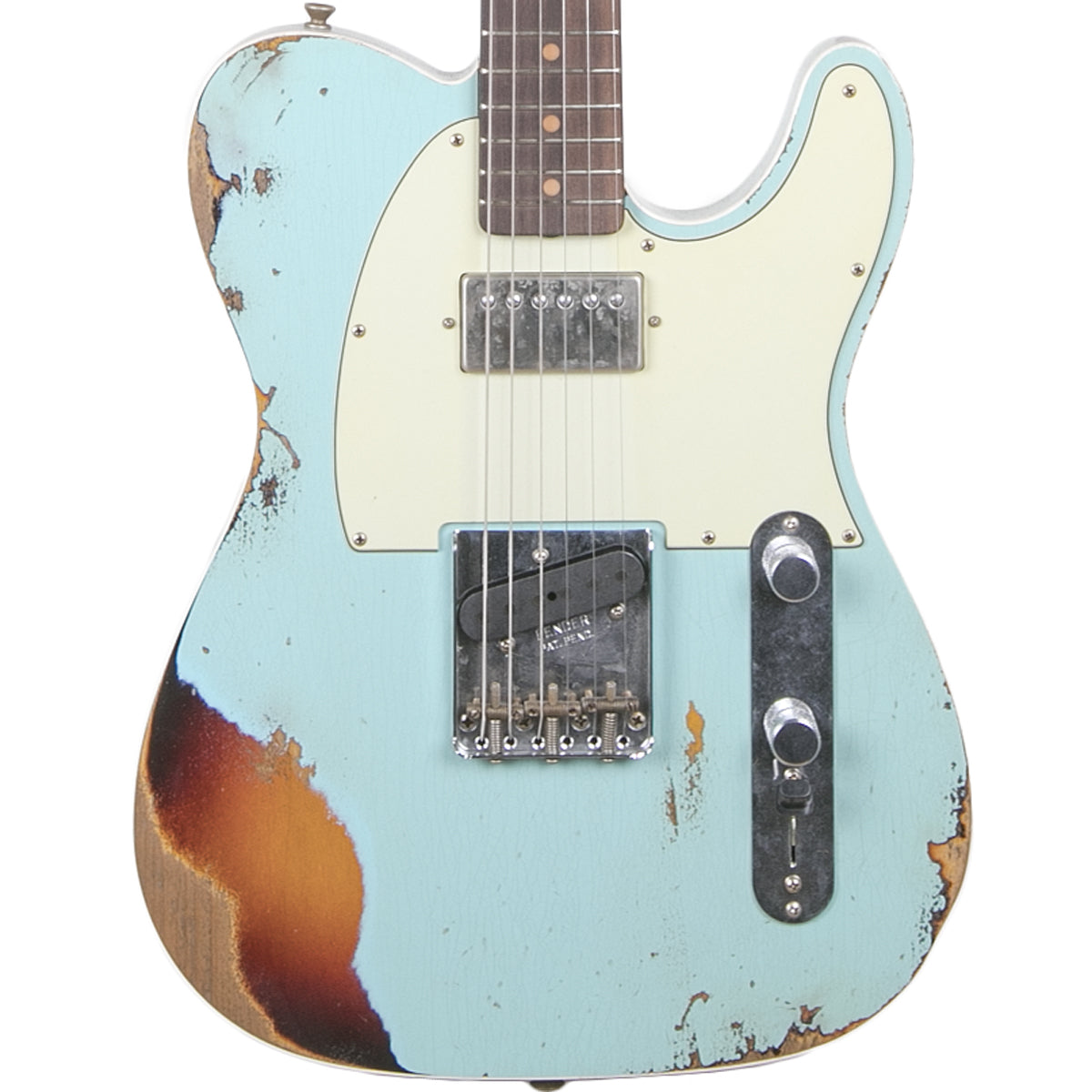 Fender Custom Shop 2018 Heavy Relic Reverse Custom HS Tele Aged Daphne Blue Over 3 Color Sunburst
