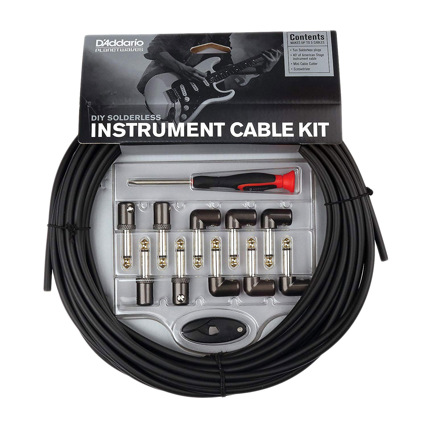 Planet Waves Solderless Custom Cable Kit, 10 feet, 10 plugs