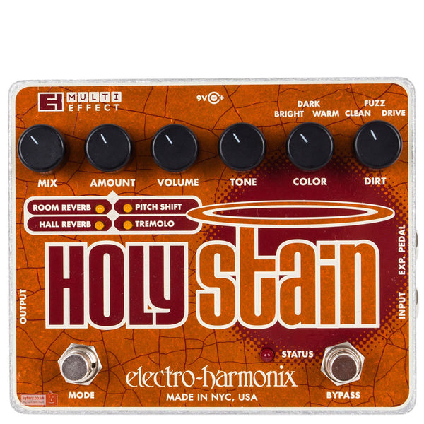 Electro Harmonix - Holy Stain - Distortion/Reverb/Pitch/Tremolo Multi-Effect (PSU Included) | Lucky Fret Music Co.