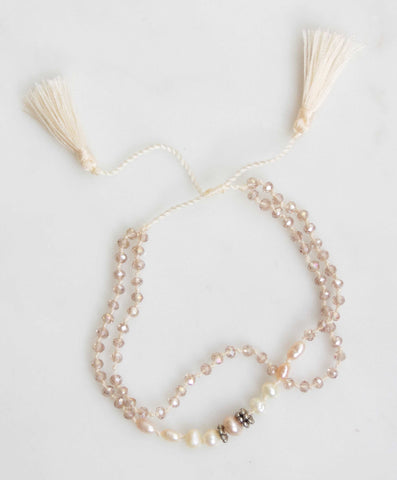 ANTIQUE PEARL MACRAME DOUBLE BRACELET