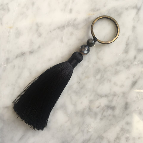 BLACK ORCHID TEMPLE SILK TASSEL BAG CHARM