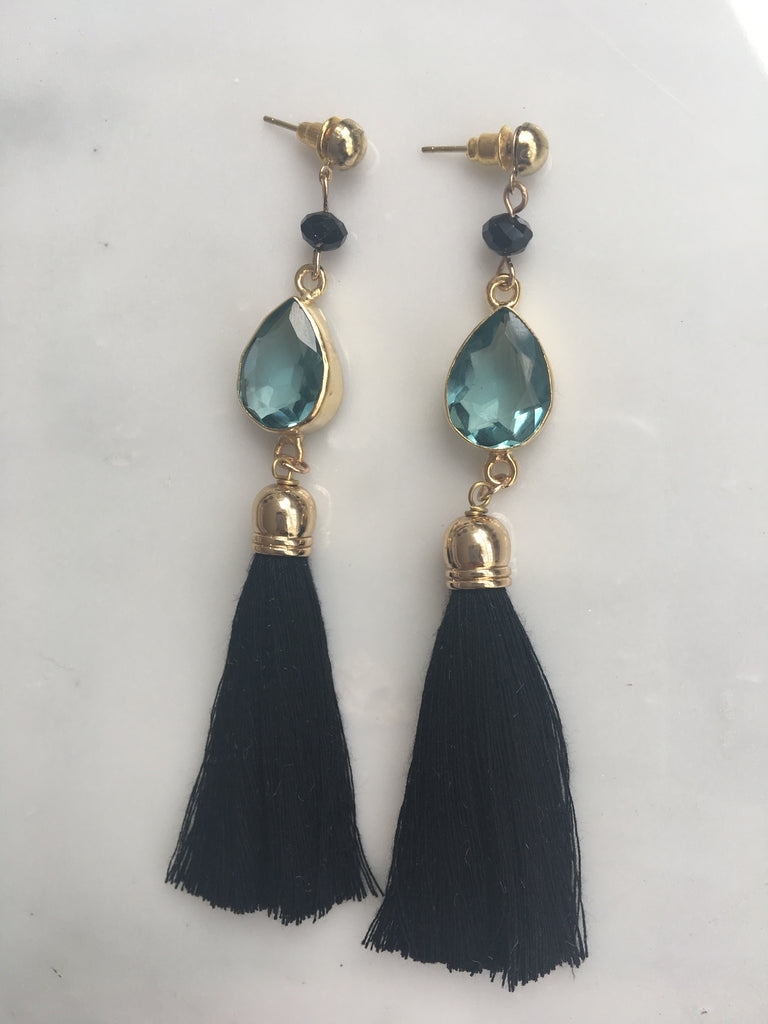 BLUE MOON SEMI PRECIOUS TASSEL EARRINGS