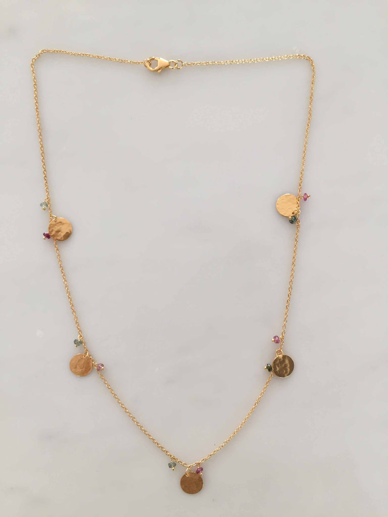 TOURMALINE FIVE DISC NECKLACE GOLD