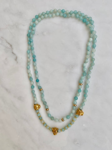AMAZONITE LEOPARD DOUBLE NECKLACE