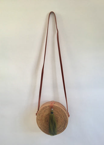 CROSS BODY RATTAN TASSEL BAG NATURE SAFARI