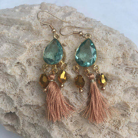 BRONZE BEACH LAGOON SEMI PRECIOUS TASSEL EARRINGS