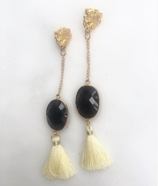 NOCTURNAL SEMI PRECIOUS TASSEL EARRINGS