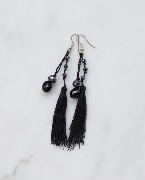 NOCTURNAL FEATHERED TASSEL EARRING