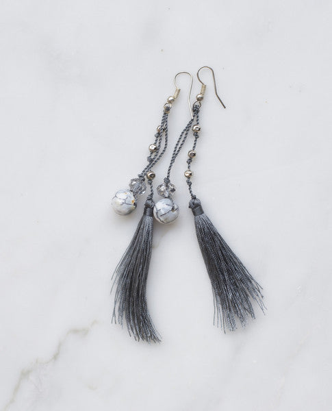 Dark grey feathered tassel earrings