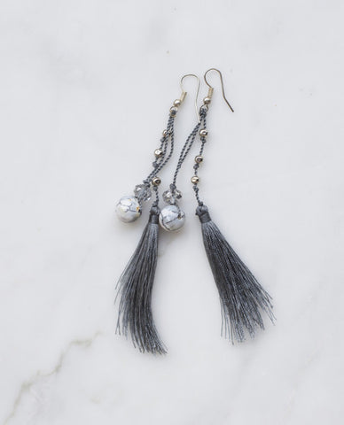 AFRICAN RAIN FEATHERED TASSEL EARRINGS