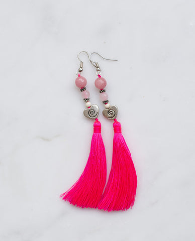 HEART SPIRAL HOT PINK TASSEL EARRING