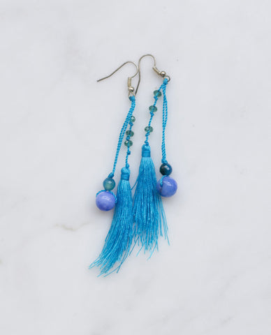 AZURE FEATHERED TASSEL EARRINGS