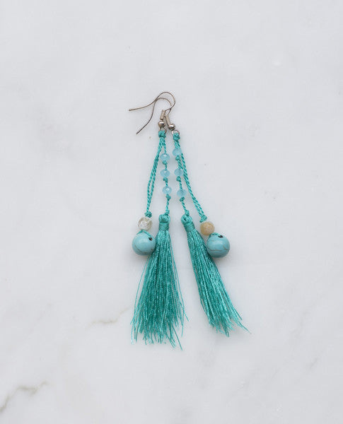 TURQUOISE FEATHERED TASSEL EARRING
