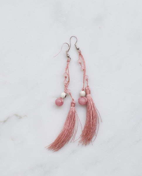PINK FEATHERED TASSEL W/ PINK AGATE EARRING