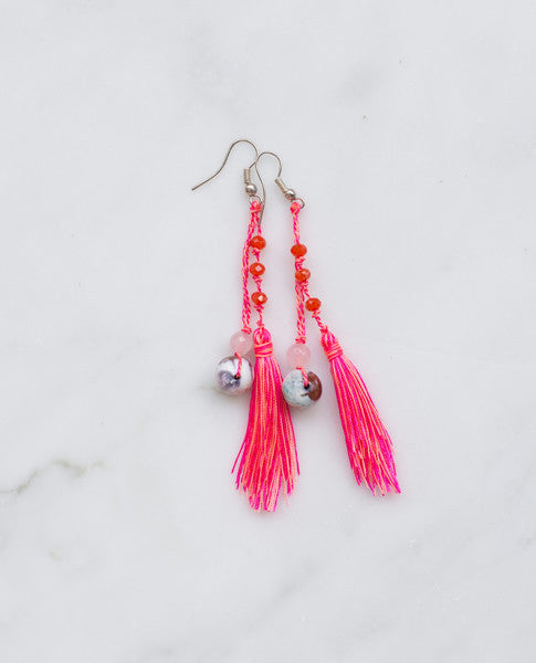 Hot pink feathered tassel earrings with large white agate stone