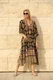 JAIPUR KAFTAN DRESS BLACK ( 3 Colourways)