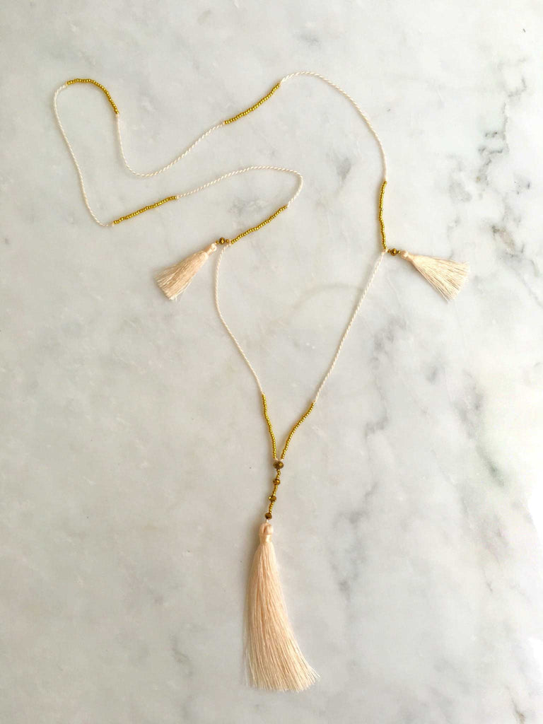 Cream-Gold Skinny Tassel Necklace
