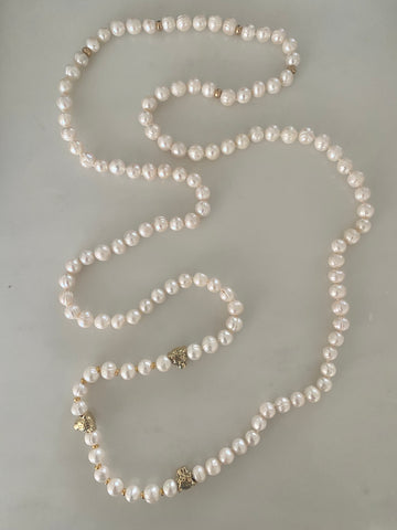 COCO PEARL LEOPARD DOUBLE NECKLACE