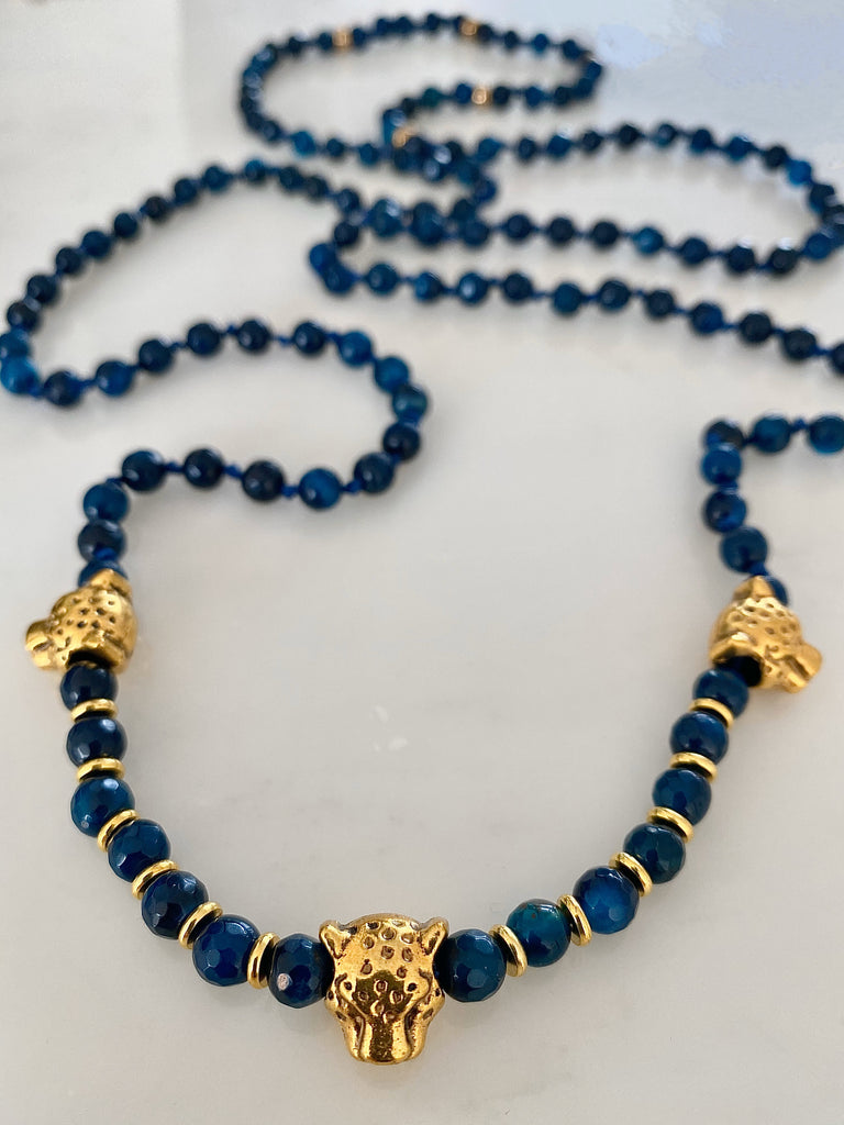 MIDNIGHT AGATE LEOPARD DOUBLE NECKLACE