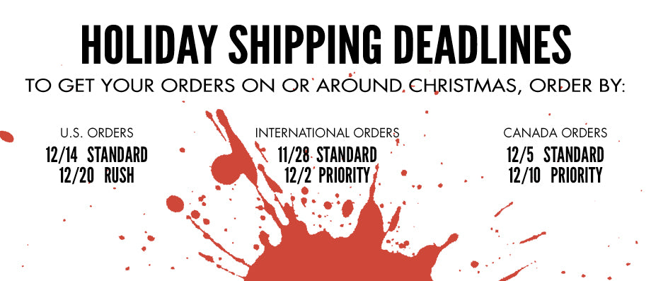 Shipping Deadlines for Alice Cooper Store