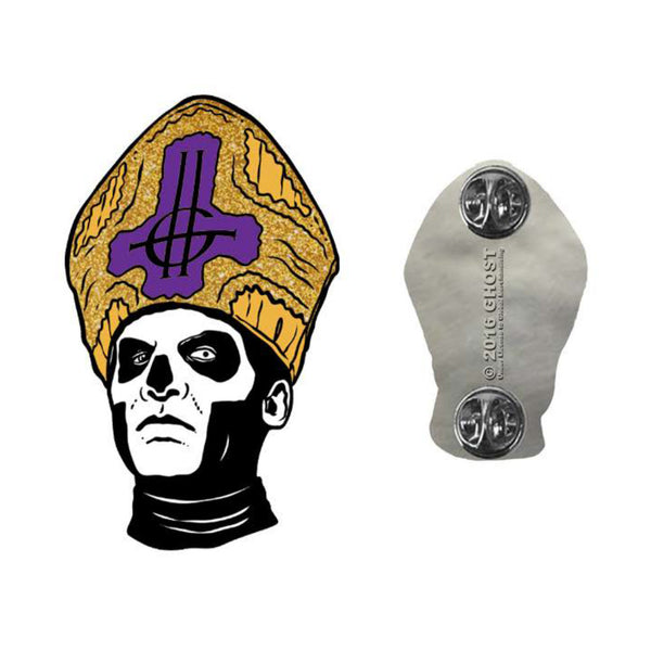 Papa Emeritus Pin Purple with Gold Flake