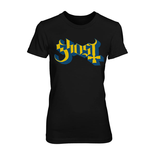 Blue and Yellow Ghost Logo Women's Tee