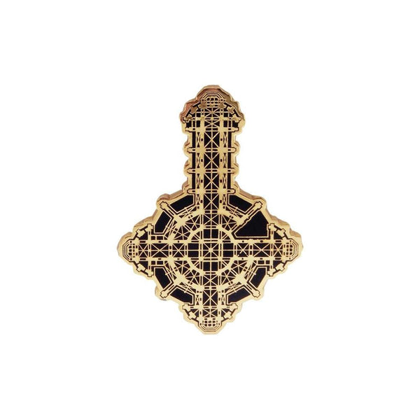 Gold Glitter Grucifix Enamel Pin