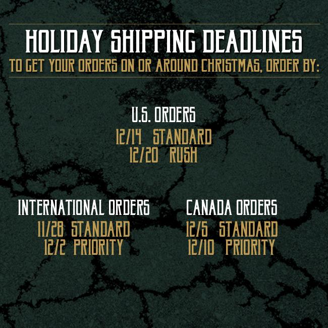 Shipping Deadlines for Ghost Store