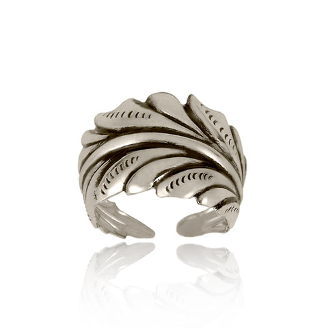 Fancy Leaf Ring - Silver - Our Nation's Creations