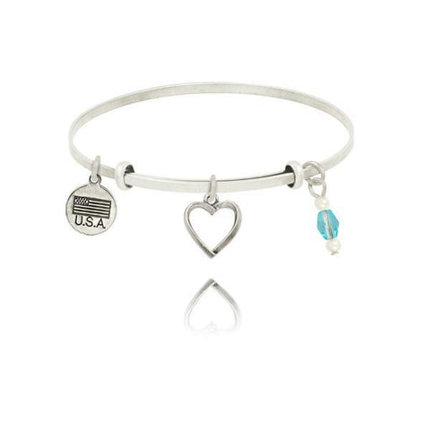 HEART OPEN+AQUA NIC ADJ BANGLE