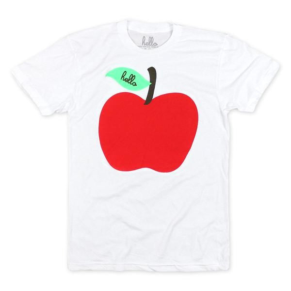 Adult Apple White Poly-Cotton T-Shirt - Our Nation's Creations