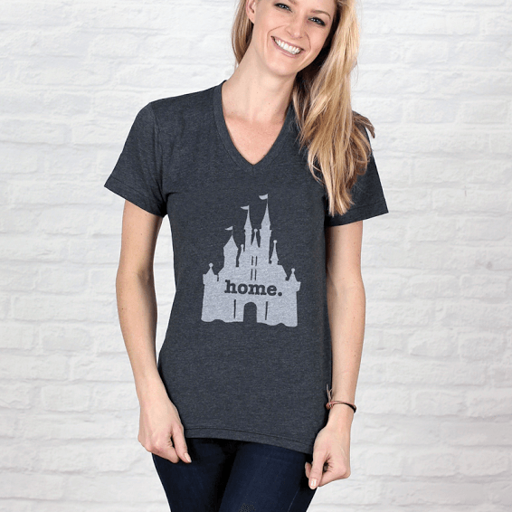 Home T Adult Castle Grey V-Neck T-Shirt - Our Nation's Creations