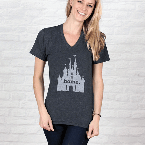 Home T Adult Castle Grey V-Neck T-Shirt